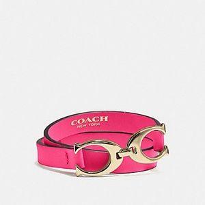 COACH Pink Leather Double Wrap Bracelet